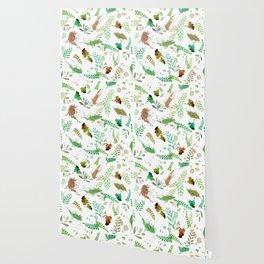 Green Leaves, Paint Splatter, Pattern Wallpaper