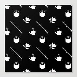 Black/White Lifestyle Pattern Canvas Print