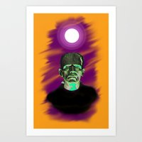 frankenstein Art Prints featuring Frankenstein  by JT Digital Art