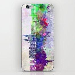 Burgos skyline in watercolor background iPhone Skin