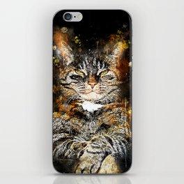 cat like a boss splatter watercolor iPhone Skin