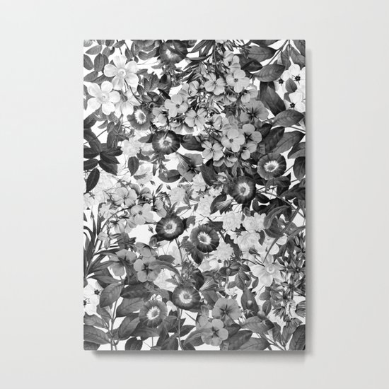 Night Garden Black and White Metal Print