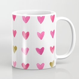 Watercolor Hearts - Pink, Red and Gold Coffee Mug