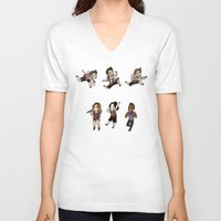 lacrosse V-neck T-shirts featuring Lacrosse by kendrawcandraw