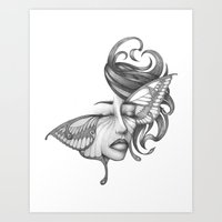 moth Art Prints featuring Moth by Tooth & Arrow Co