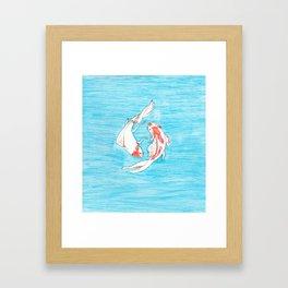 Koi Fish on Blue Background Framed Art Print