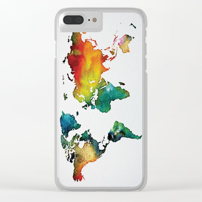 Multicolor World Map 04 Clear iPhone Case