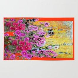 Modern Art Hollyhocks Garden in Red-Orange Rug
