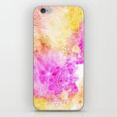 Pink orange botanical watercolor hand drawn floral pattern iPhone & iPod Skin