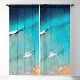 Azure Blue Waves Blackout Curtain