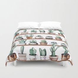 Cactus Shelf Rose Gold Green Duvet Cover