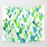 watercolour Wall Tapestries featuring Watercolour Cacti by Jenna Mhairi