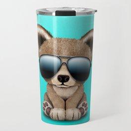 Cute Baby Bear Wearing Sunglasses Travel Mug