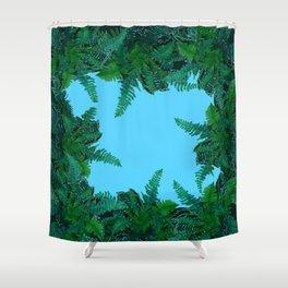 GREEN & BABY BLUE  FERN LEAVES ART Shower Curtain
