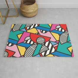 Colorful Memphis Modern Geometric Shapes - Tribal Kente African Aztec Rug