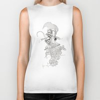 punk rock Biker Tanks featuring traditional punk rock amoeba by Lanny Quarles