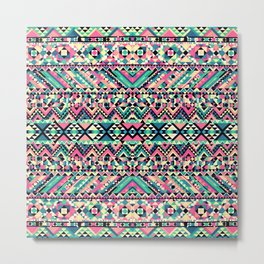 Pink Turquoise Girly Aztec Andes Tribal Pattern Metal Print