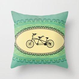 Love Birds on Bikes Throw Pillow