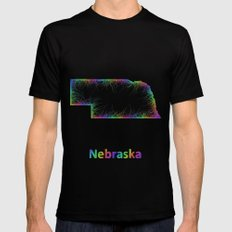Rainbow Nebraska map Mens Fitted Tee MEDIUM Black