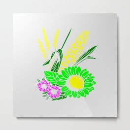 Flowers and corn design Metal Print