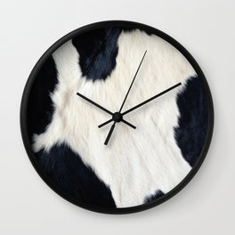 Cowhide Black and White Wall Clock