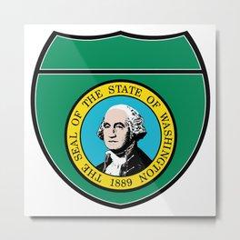 Washington State Flag In An Interstate Sign Metal Print