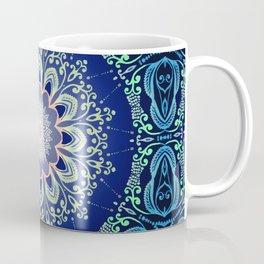 blue flowers mandala Coffee Mug