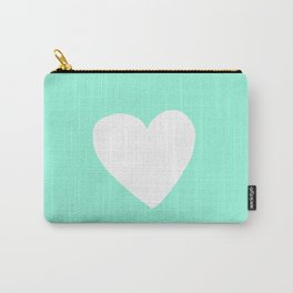 Mint Heart Carry-All Pouch