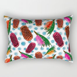 Beautiful Australian Native Floral Print - Grevillea and Beehive Ginger Rectangular Pillow