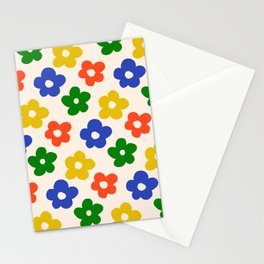 Retro Pattern Primary Rainbow Flowers #pattern #floral #vintage Stationery Cards