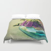 trumpet Duvet Covers featuring Trumpet Flowers by AlyZen Moonshadow