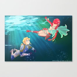 Link and Mipha - Breath of the Wild Canvas Print