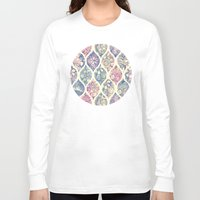 micklyn Long Sleeve T-shirts featuring Patterned & Painted Floral Ogee in Vintage Tones by micklyn