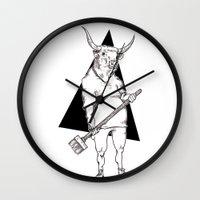 bull Wall Clocks featuring Bull by Hopler Art