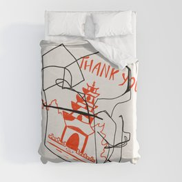 Chinese Food Takeout - Contour Line Drawing Duvet Cover