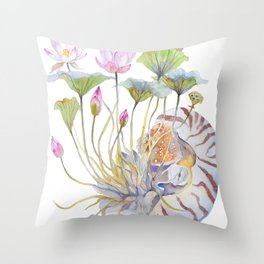 Nautilus and Lotus Surreal Watercolor Creature Throw Pillow