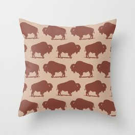 Buffalo Bison Pattern Brown and Beige Throw Pillow