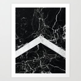 Arrows - Black Granite & White Marble #992 Art Print