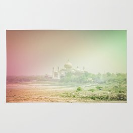 Colors of Dreamy Taj Mahal in the Morning Mist Behind the Yamuna River Rug