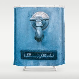 Blue Doorknocker Shower Curtain