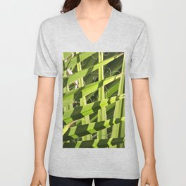 TEXTURES -- Palm Fronds Intersecting Unisex V-Neck