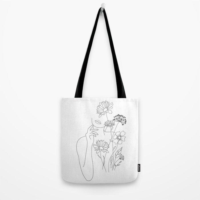 Minimal Line Art Woman with Flowers III Tote Bag