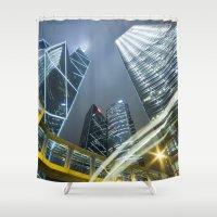 hong kong Shower Curtains featuring Hong Kong Night City by Parrish