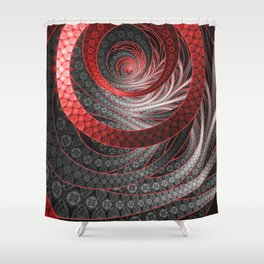 Beautiful Silver and Red Fractal Vampire Scales Shower Curtain