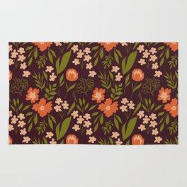 Warm Dark Floral Rug