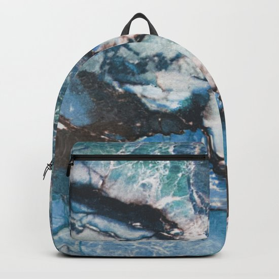 Turquoise Blue Marble Backpack