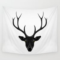 christmas Wall Tapestries featuring The Black Deer by Ruben Ireland