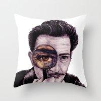 dali Throw Pillows featuring Dali by ShesCrafty