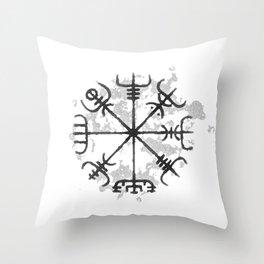 VEGVISIR Nordic sign post compass wayfinder watercolor v2 Throw Pillow