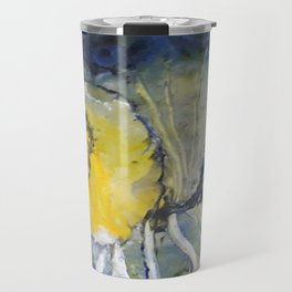 Oceanic Bloom - Mixed Media Beeswax Encaustic Modern Fine Art, 2015 Travel Mug